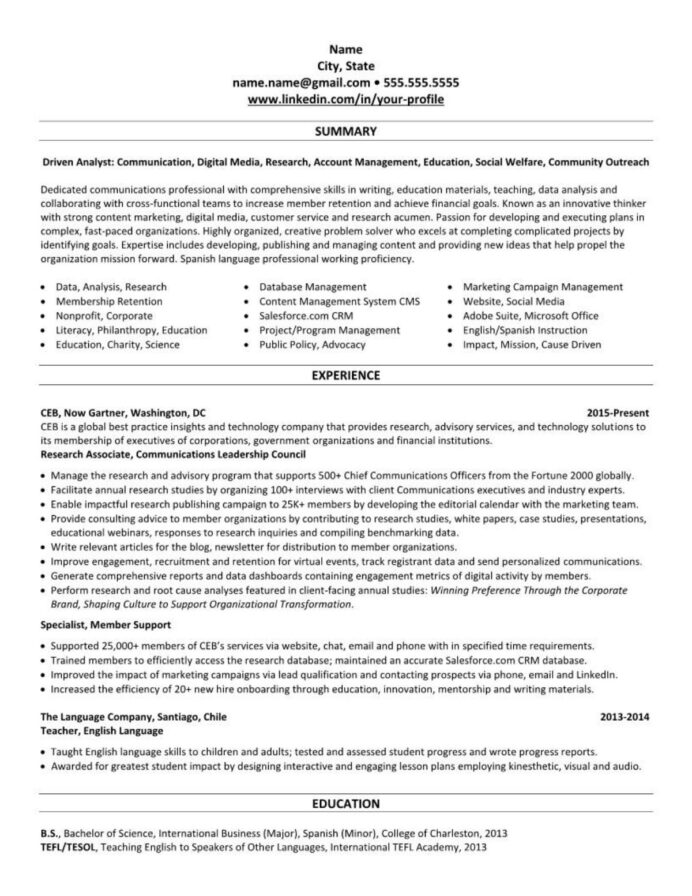 linkedin profile resume example entry level communications sample activities and honors Resume Entry Level Communications Resume Sample