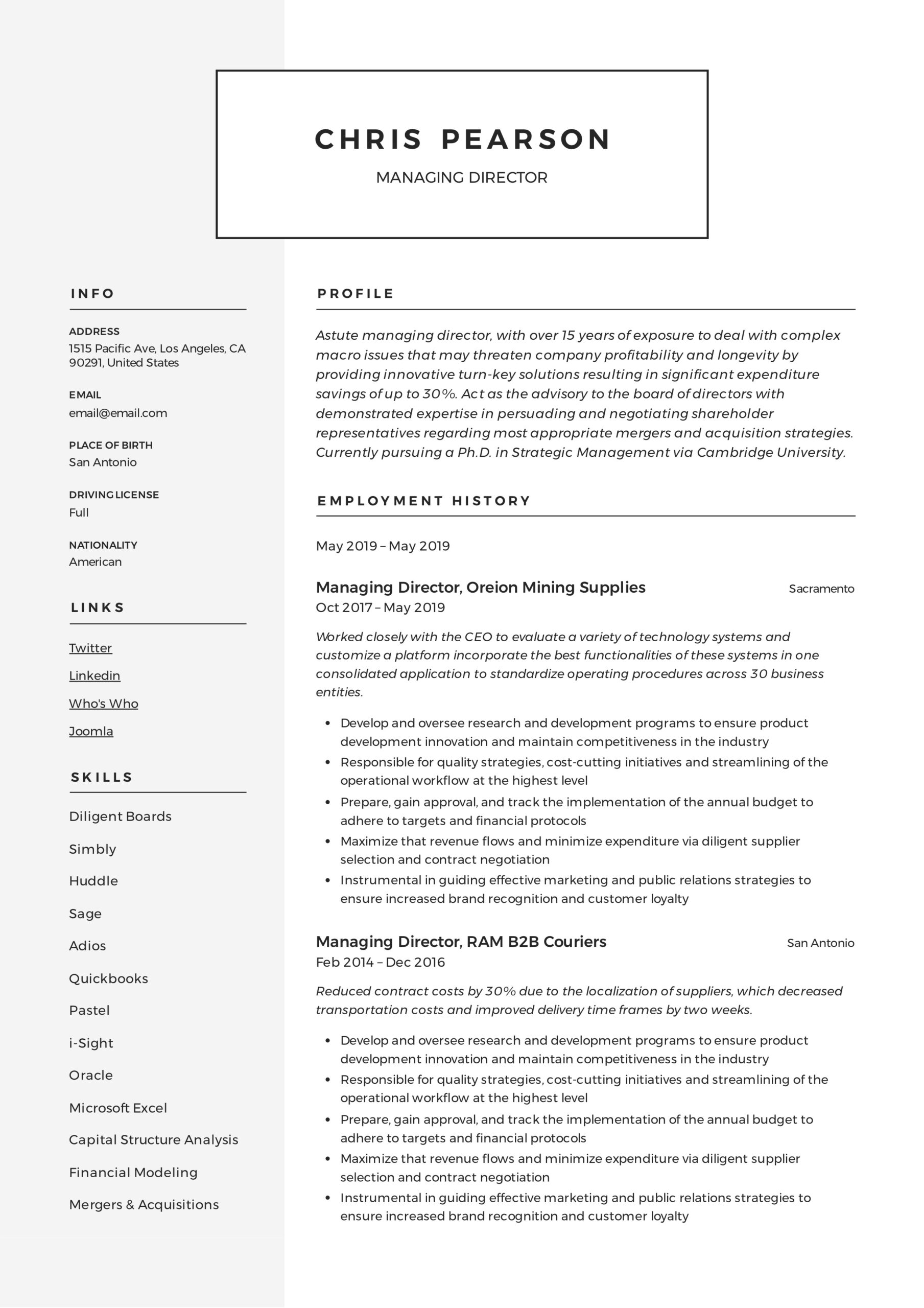 managing director resume writing guide examples pdf school sample example summary Resume School Director Resume Sample