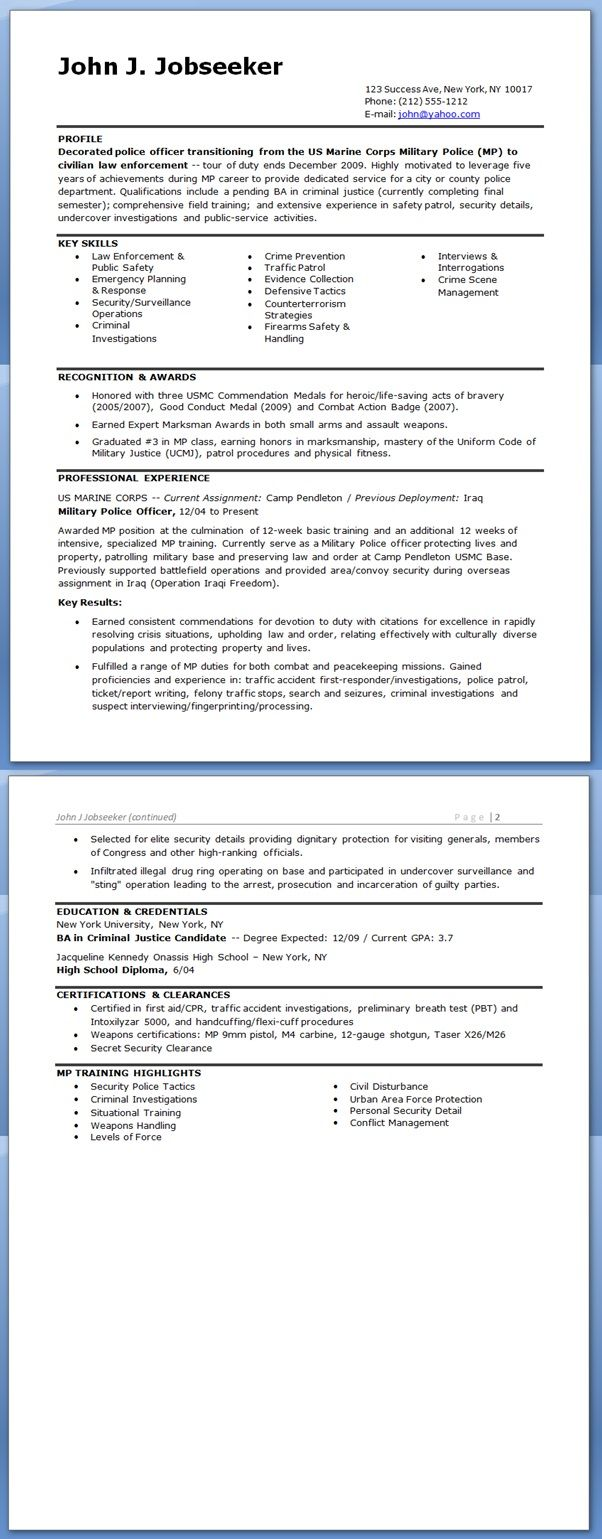 police officer resume template free downloads protection sample company secretary Resume Protection Officer Resume Sample