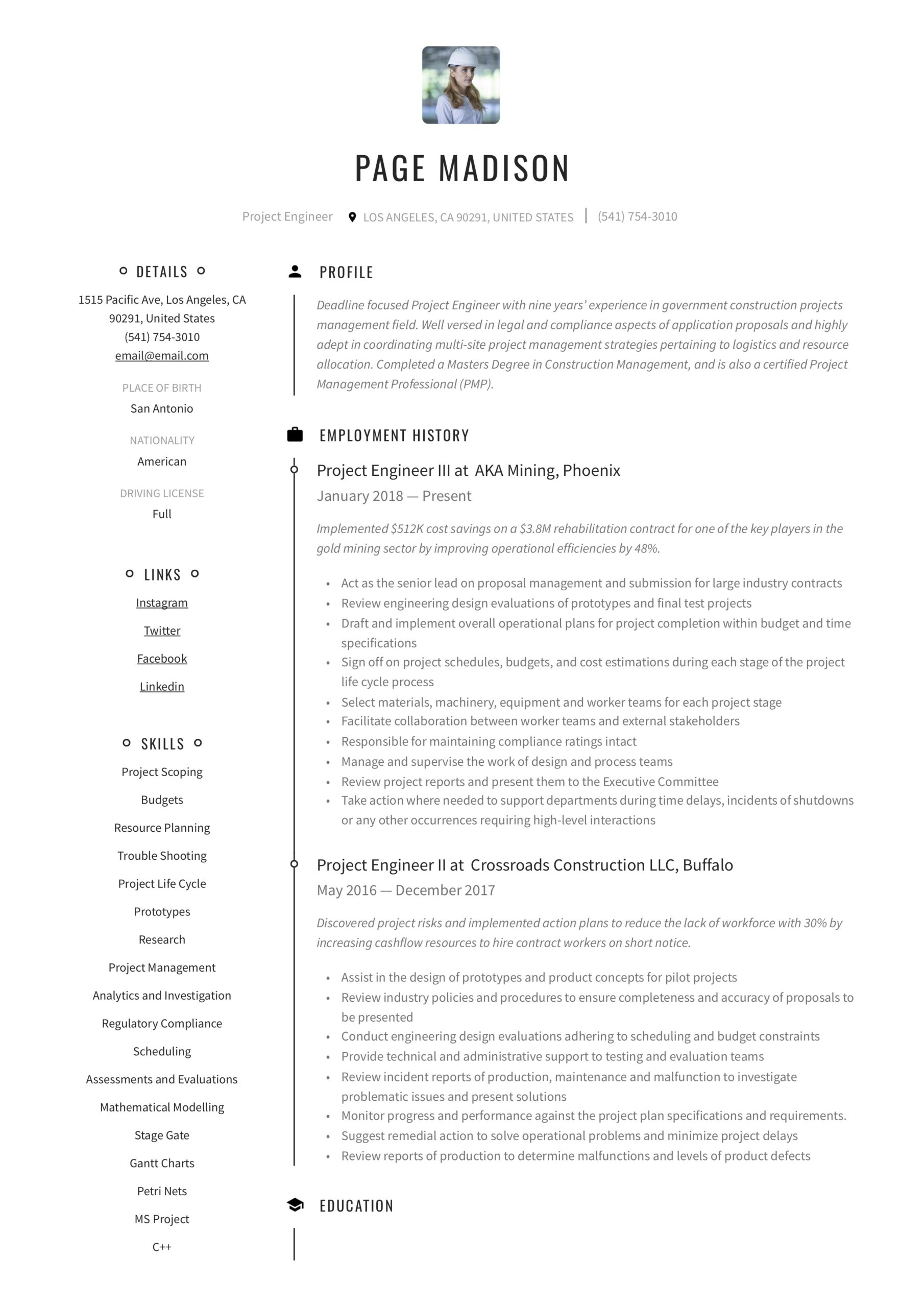 project engineer resume writing guide examples executive sample tso example our Resume Executive Engineer Resume Sample