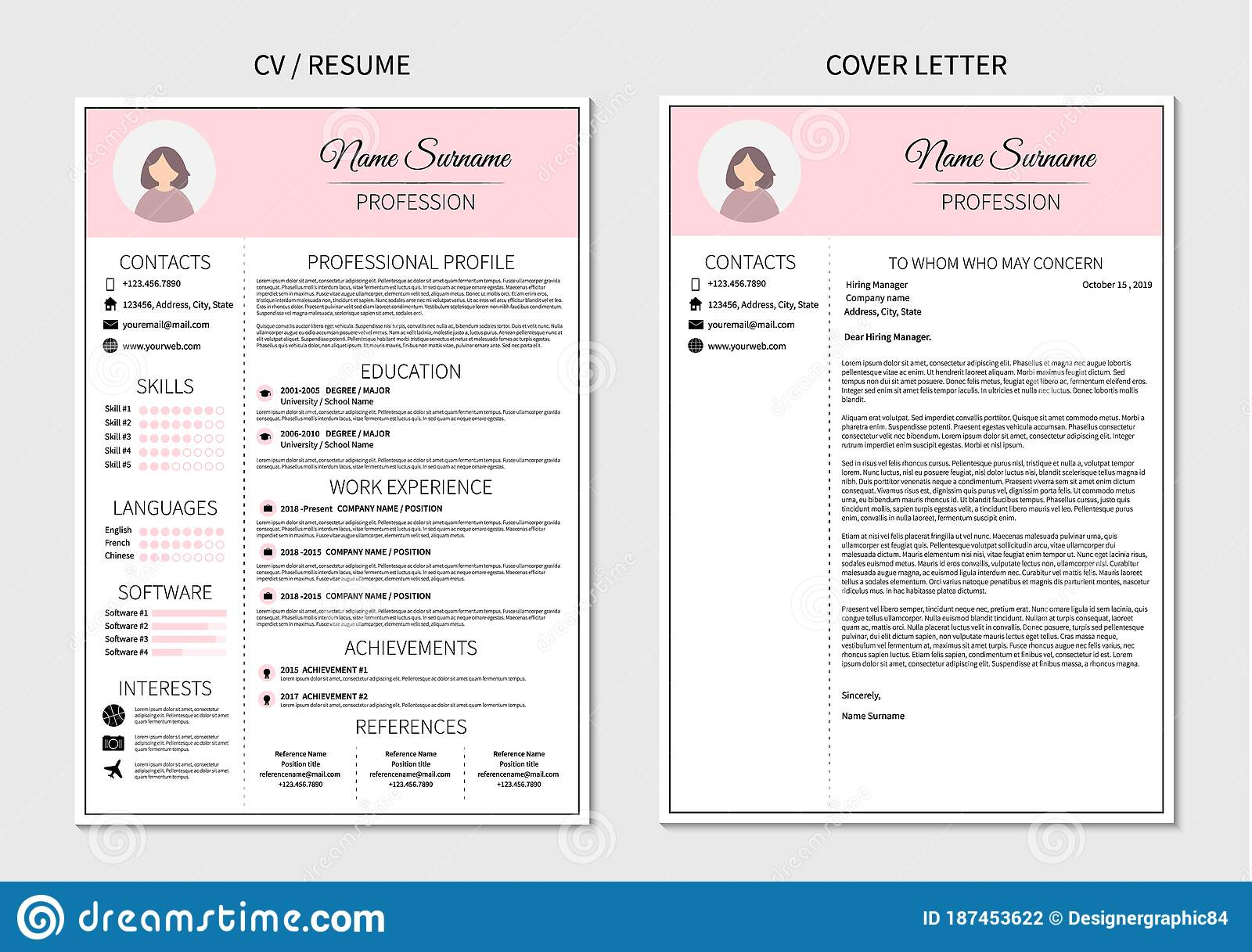 resume template for women modern cv and cover letter layout with infographic minimalistic Resume Free Resume Sample Stoke Machandise