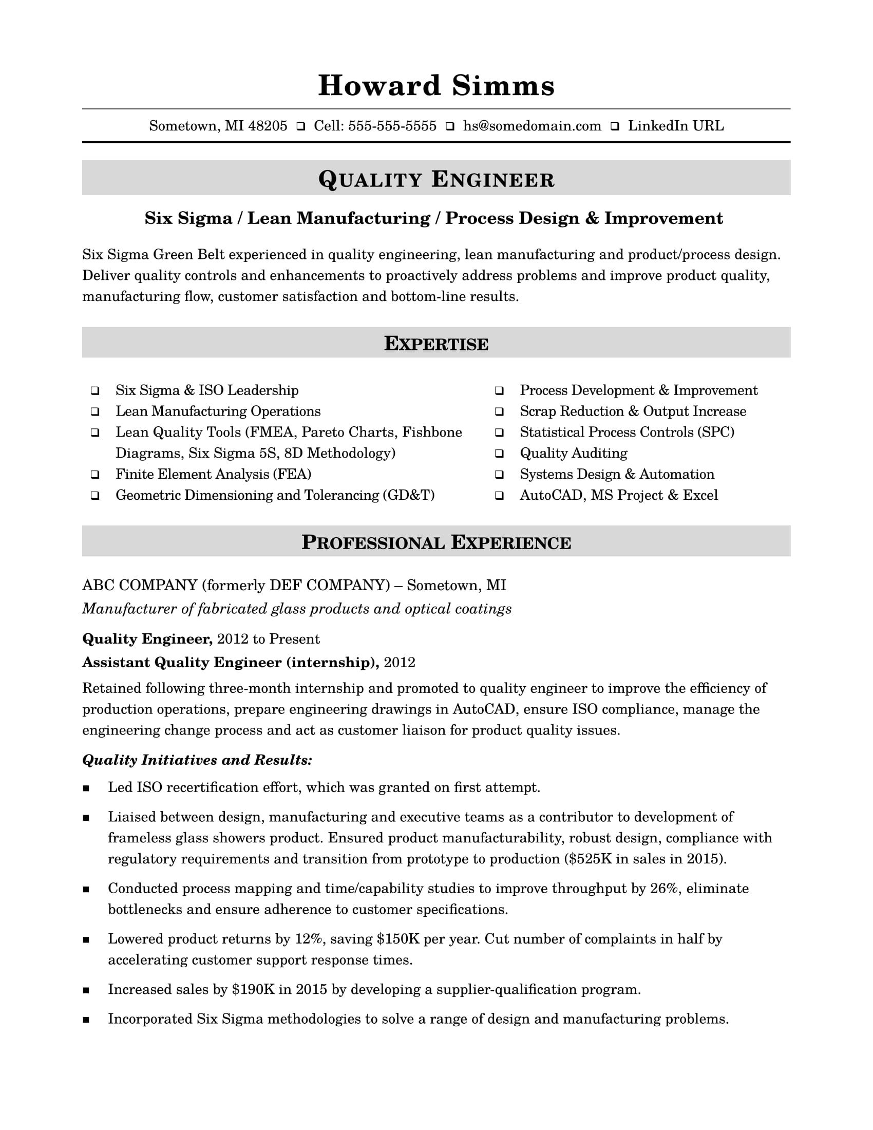 sample resume for midlevel quality engineer engineering process design example of ojt Resume Process Design Engineer Resume Sample