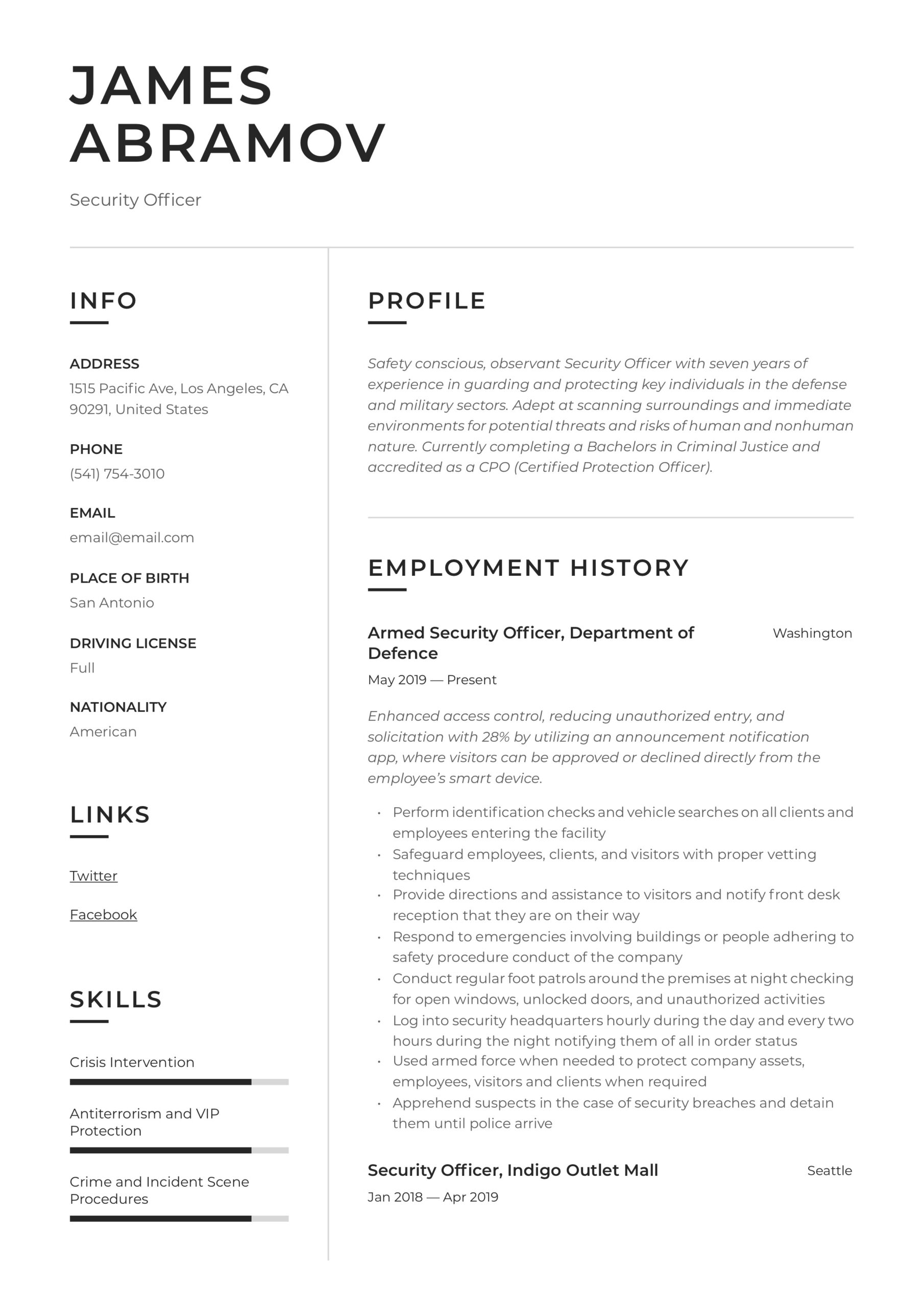 security officer resume writing guide examples protection sample administrative summary Resume Protection Officer Resume Sample