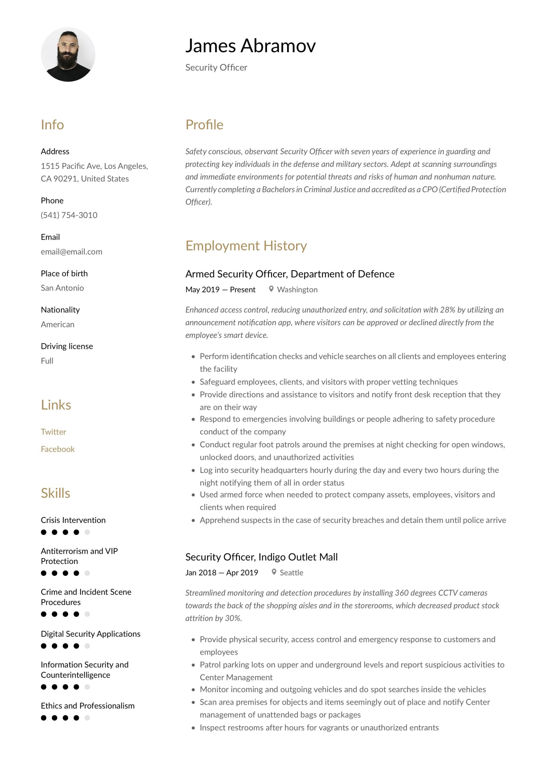 security officer resume writing guide examples protection sample template sharelatex Resume Protection Officer Resume Sample