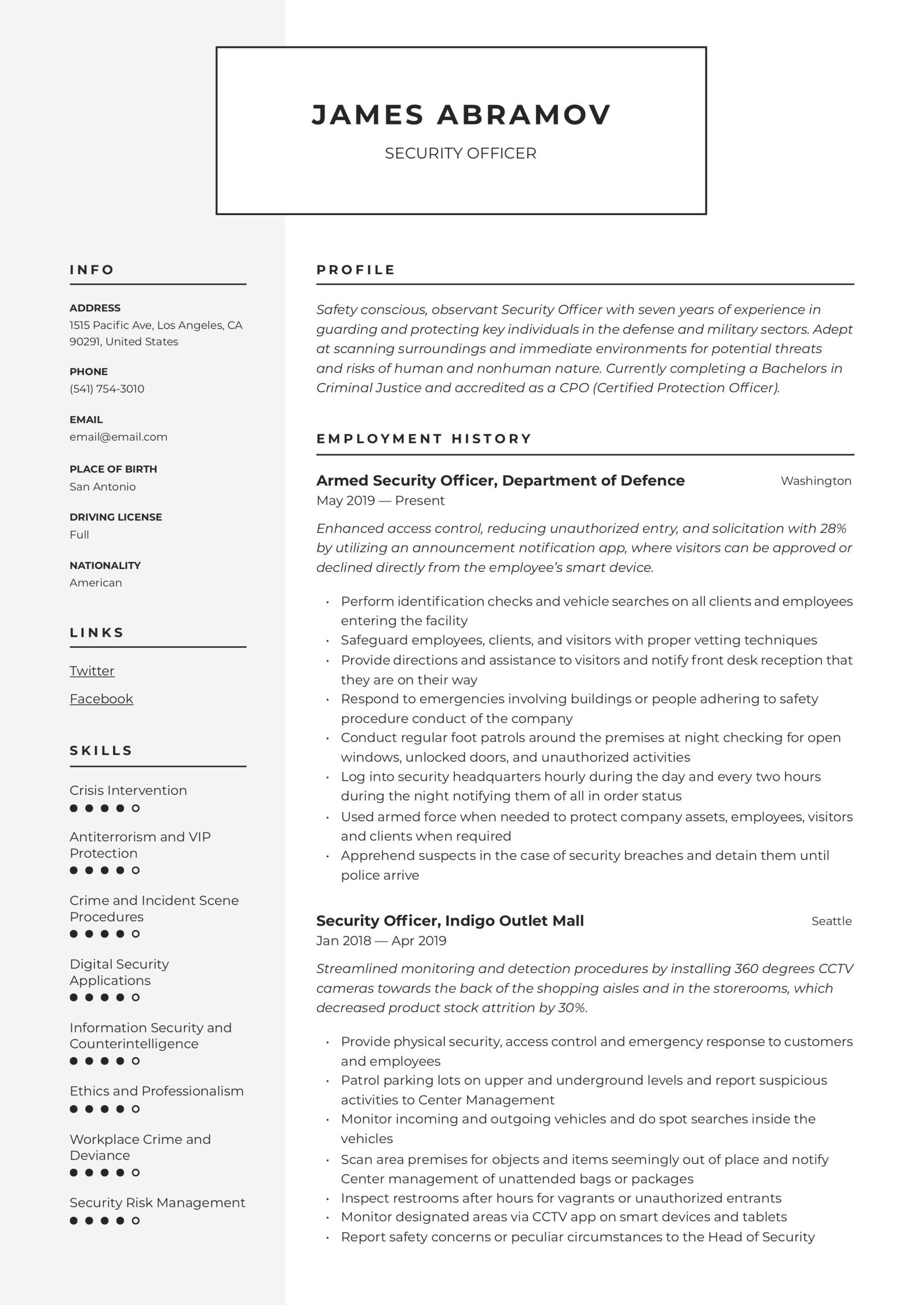 security officer resume writing guide examples protection sample volunteer work hotel Resume Protection Officer Resume Sample