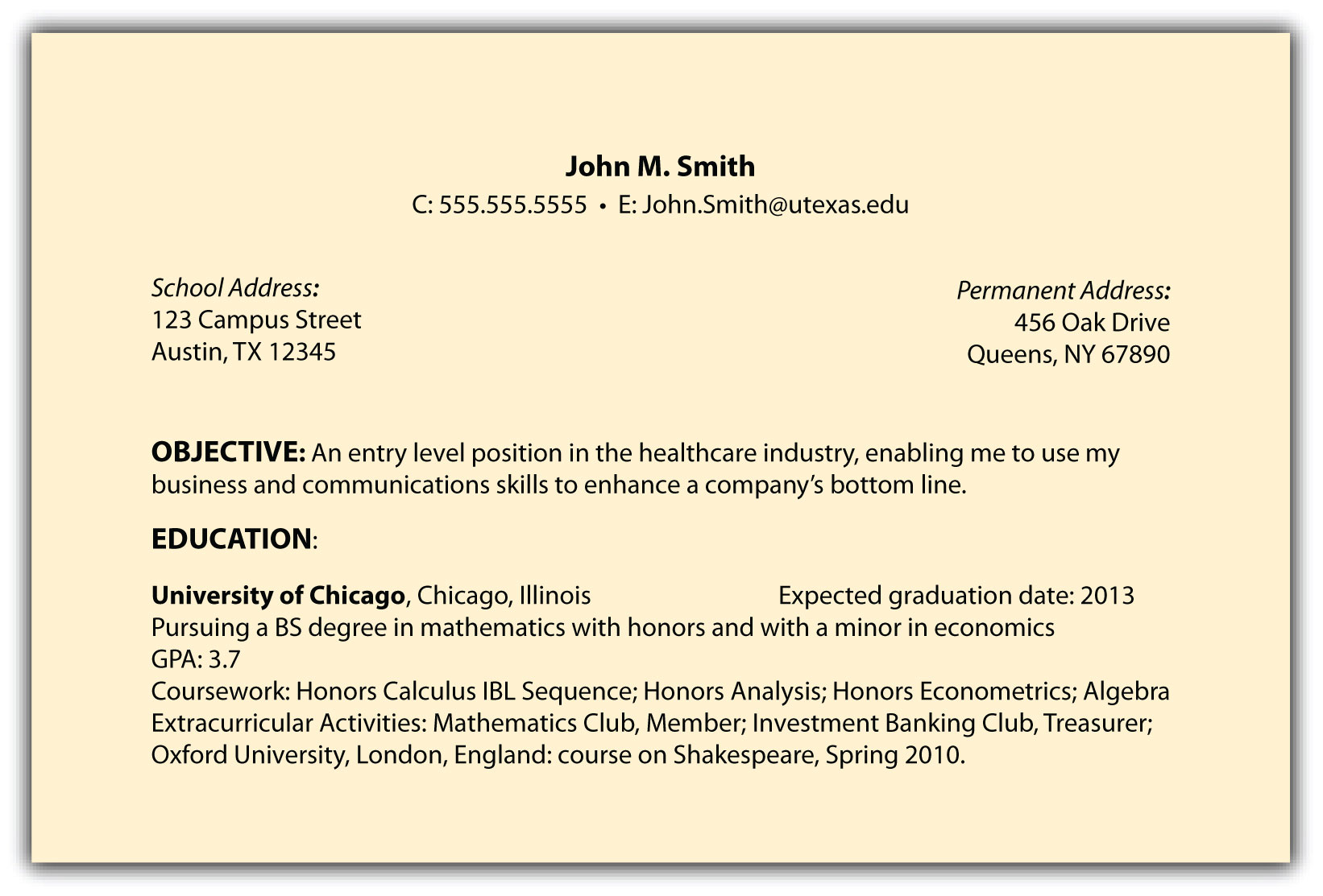 text resume sample october simple objective in culverhouse template email for sending h1b Resume Simple Objective In Resume Sample
