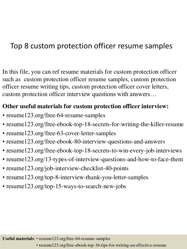 top custom protection officer resume samples sample Resume Protection Officer Resume Sample