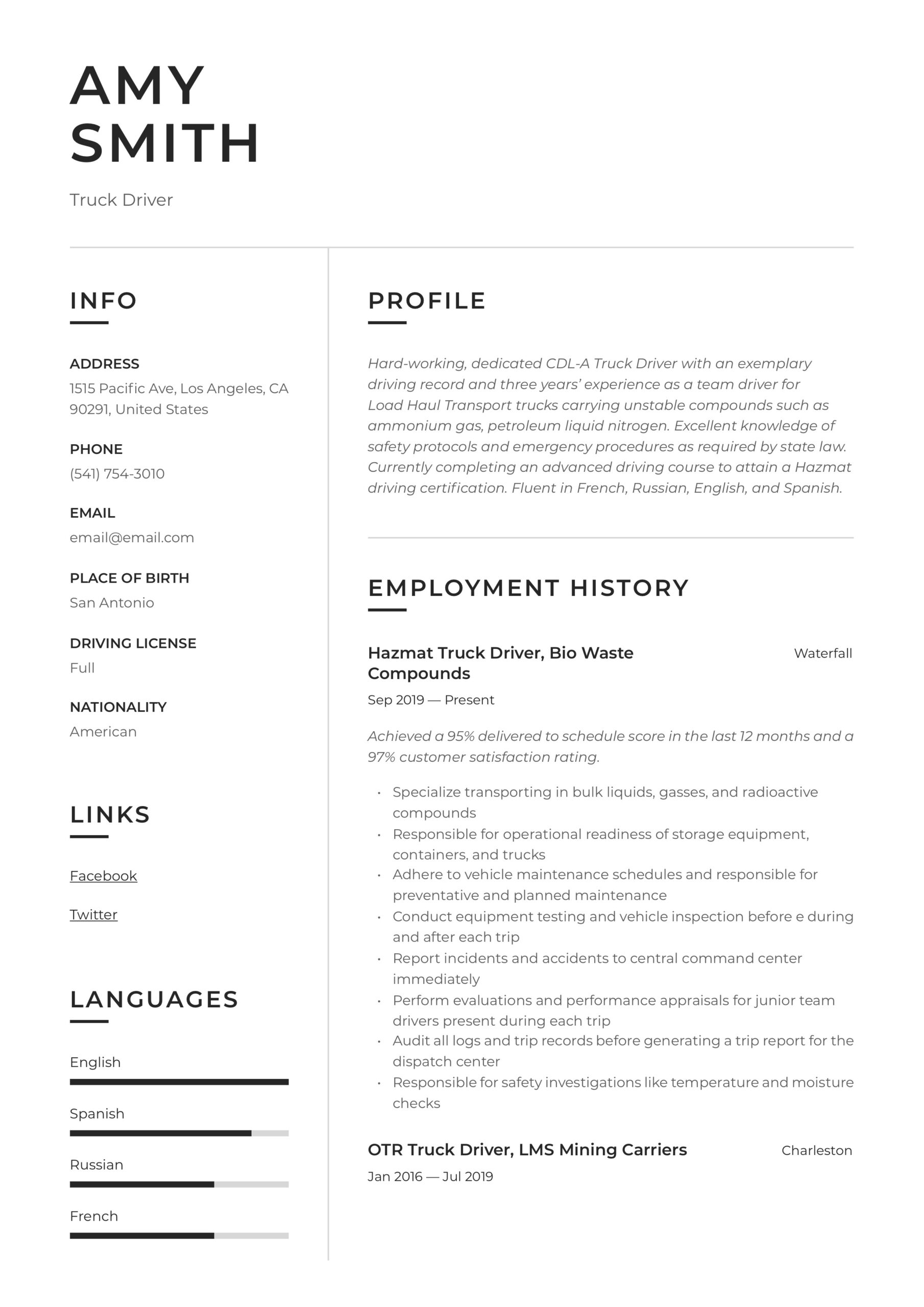 truck driver resume writing guide examples duties sample non chronological receiving Resume Class A Truck Driver Duties Resume Sample